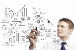 businessman drawing plan strategy success